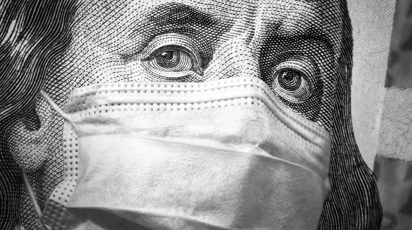 Benjamin Franklin on a dollar bill with a facemask - Coronavirus effect in the economy